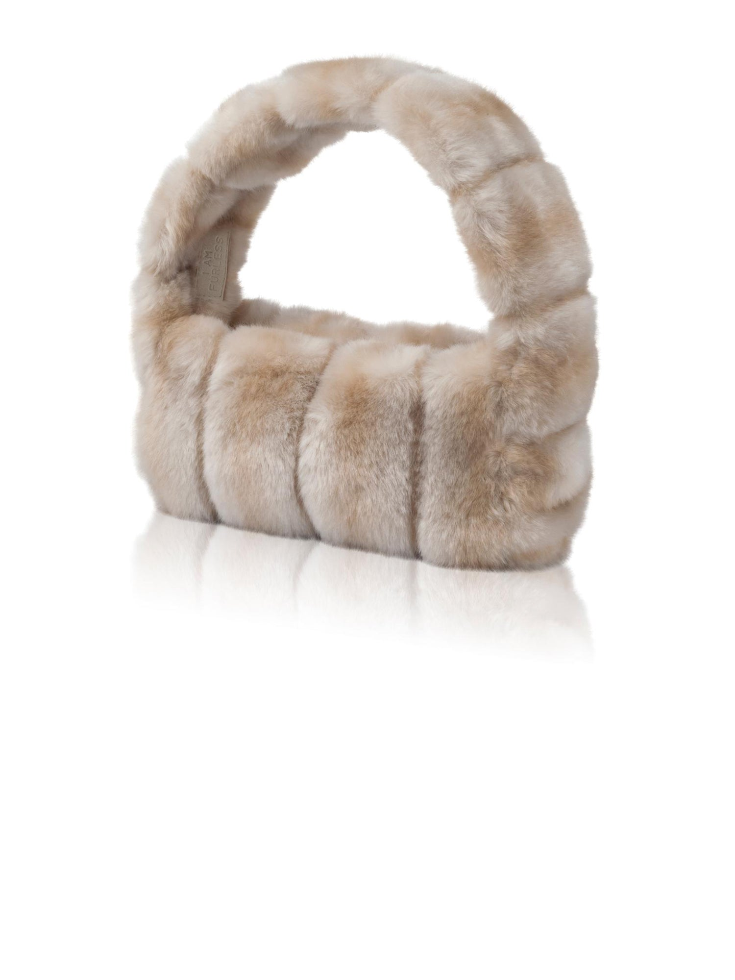 A Packshot Of Marei1998's Pampas Faux Fur Handbag In A Most Elegant Neutral\Beige Color. Featuring Narrow Silhouette And Short Strap. A Chic Upgrade To Any Outfit. Front View.
