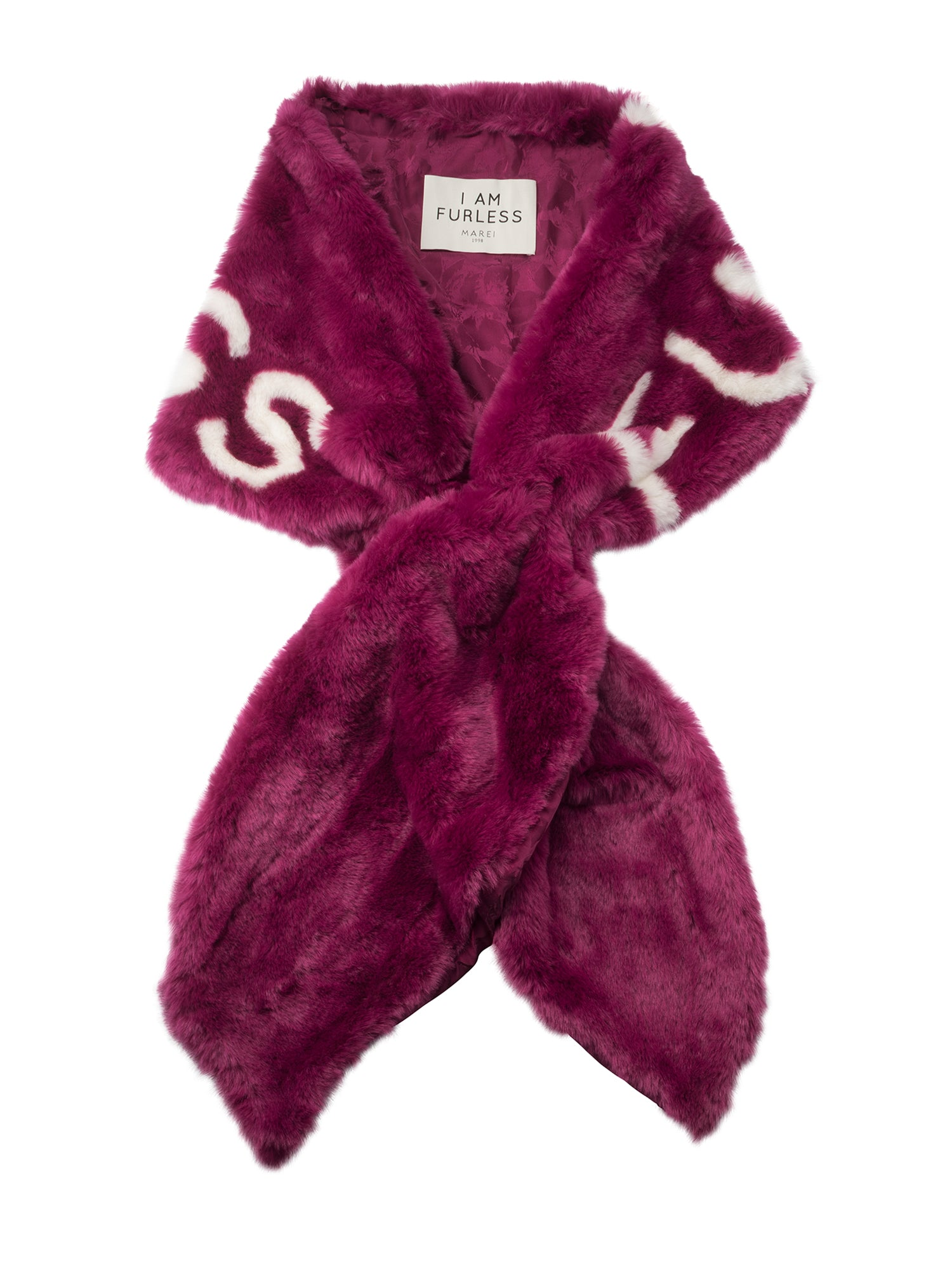 A Packshot Of Marei1998's Furless Faux Fur Stole In Off White Color. Exclusively Designed As Part Of Marei1998's Furless Label, This Stole Is A Bold Statement Piece. Cut In A Wide Silhouette, It Is Crafted From Plush Faux Fur In Bold Raspberry Hue, Featuring Jacquard Design In Off White.
