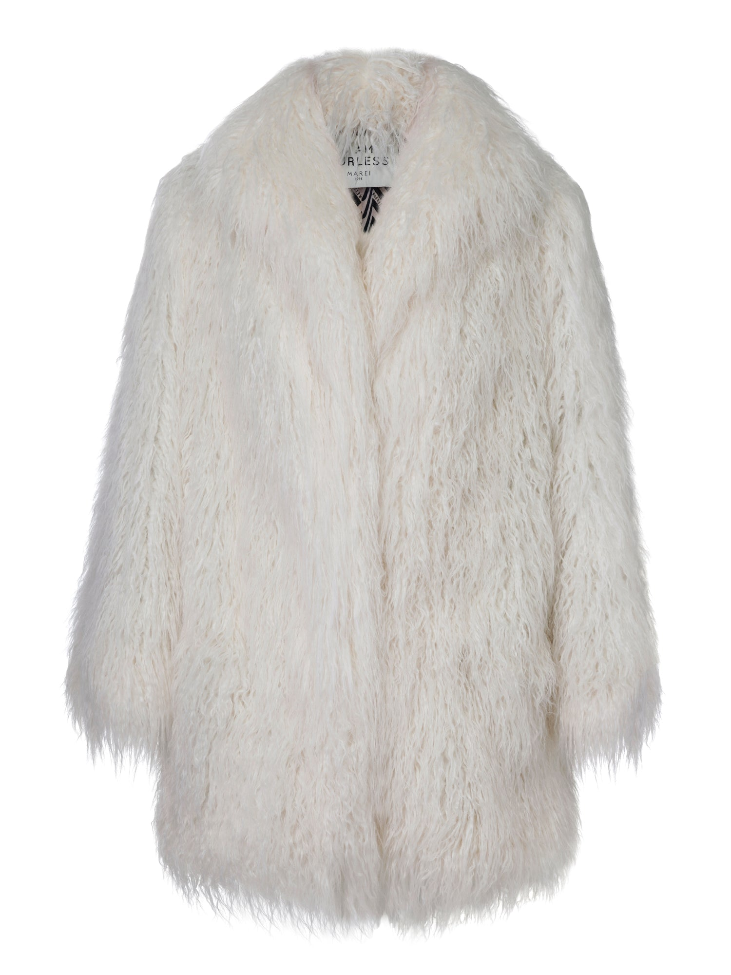 A Packshot Of Marei1998's Ivy Faux Fur Coat In Ivory Color. Made From Luscious Long Pile Faux Fur, It Features A Slight A-Lined Silhouette And Full Lining.
