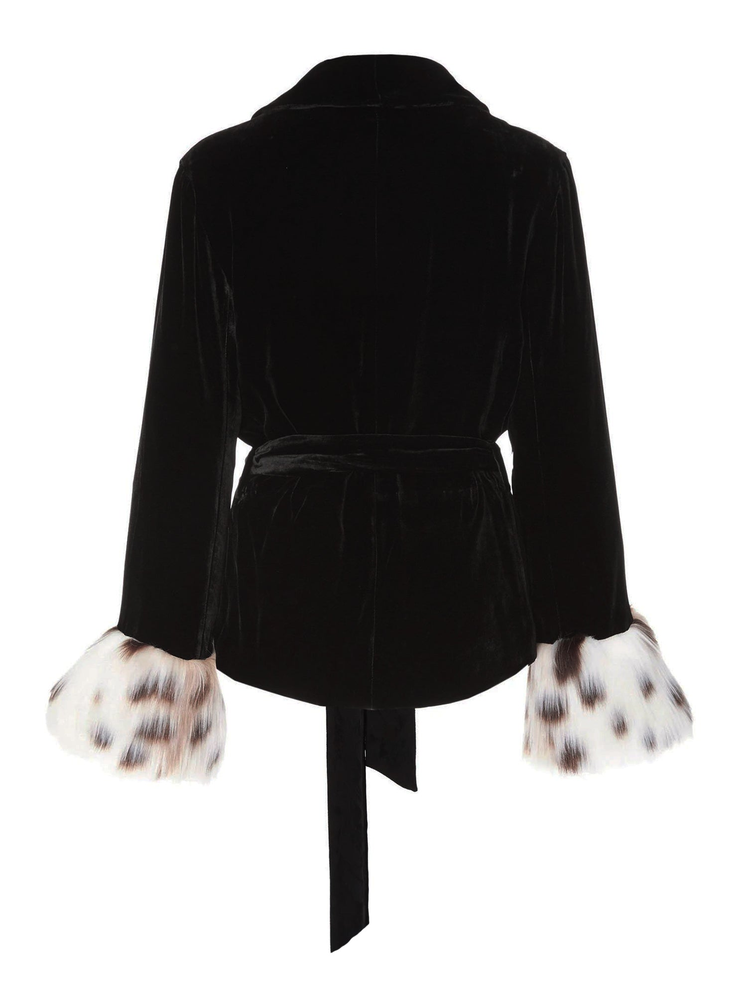 A Packshot Of Marei1998's Clarkia Silk Velvet Jacket In Black Color. Featuring Lapel Collar and Bell Sleeves, Trimmed With Contrasting Linca Color (Delicate Leopard Design) Faux Fur. Matching Tip-up Belt To Define The Waist. Back View. Resort 2020 Collection - Furless Friendship.