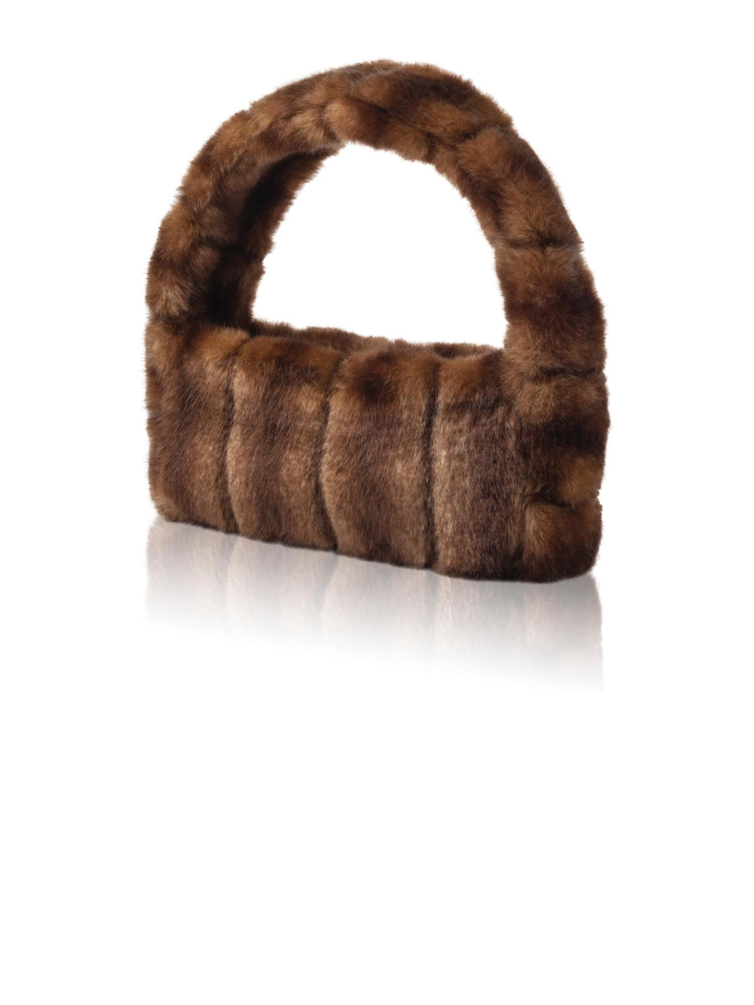A Packshot Of Marei1998's Pampas Faux Fur Handbag In The Classiest Brown Color. Featuring Narrow Silhouette And Short Strap. A Chic Upgrade To Any Outfit. Front View.