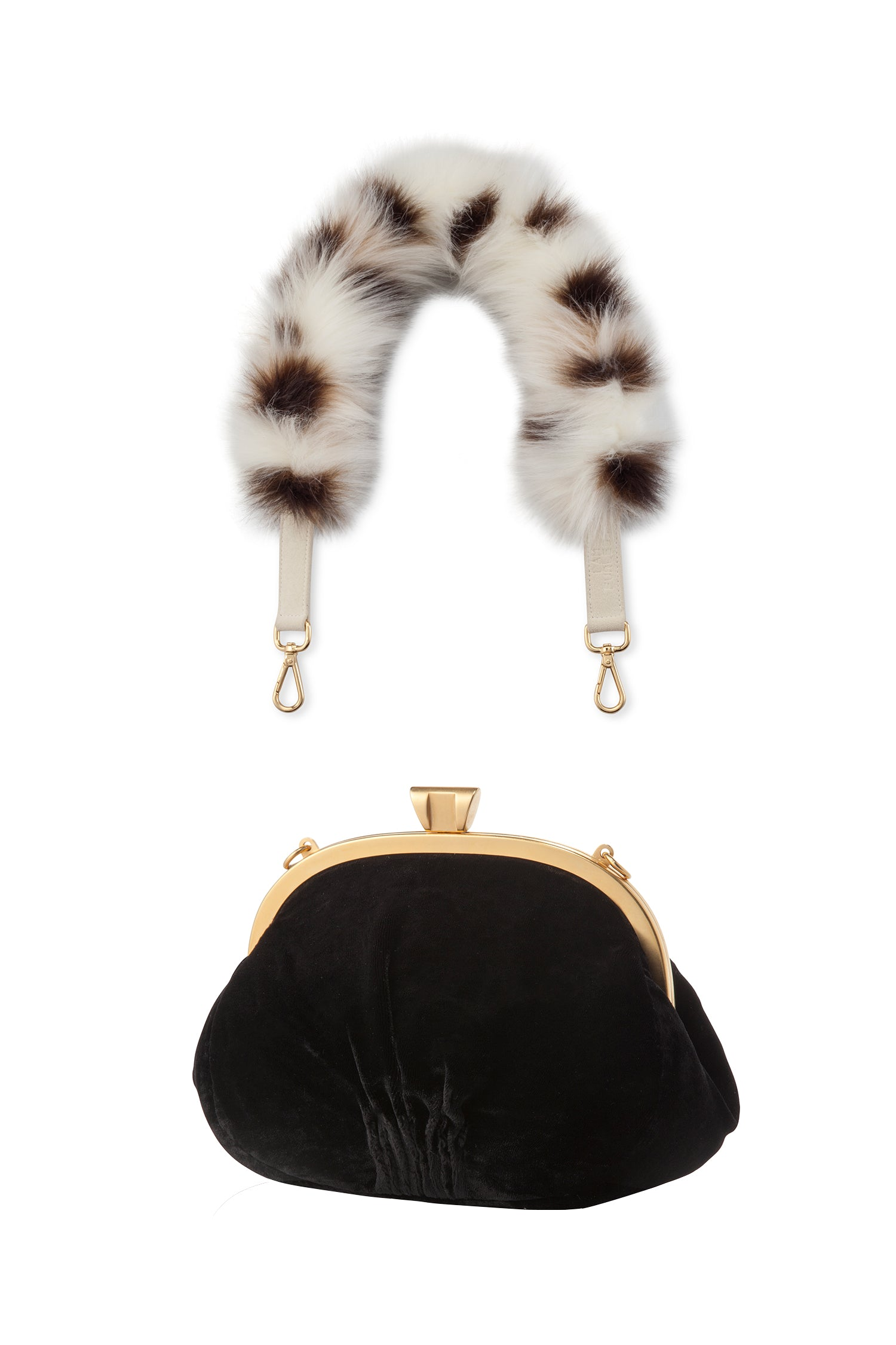 A Packshot Of Marei1998's Forget Me Not Velvet Purse In Black Color. Made From Lustrous Velvet And Topped With Gold Plated Brass Clasp For Smooth Closure. The Puffy Silhouette Is Accentuated By A Lush Faux Fur Strap In Contrasting Spotted Design, Creating A Contemporary Vintage Look. Front View.