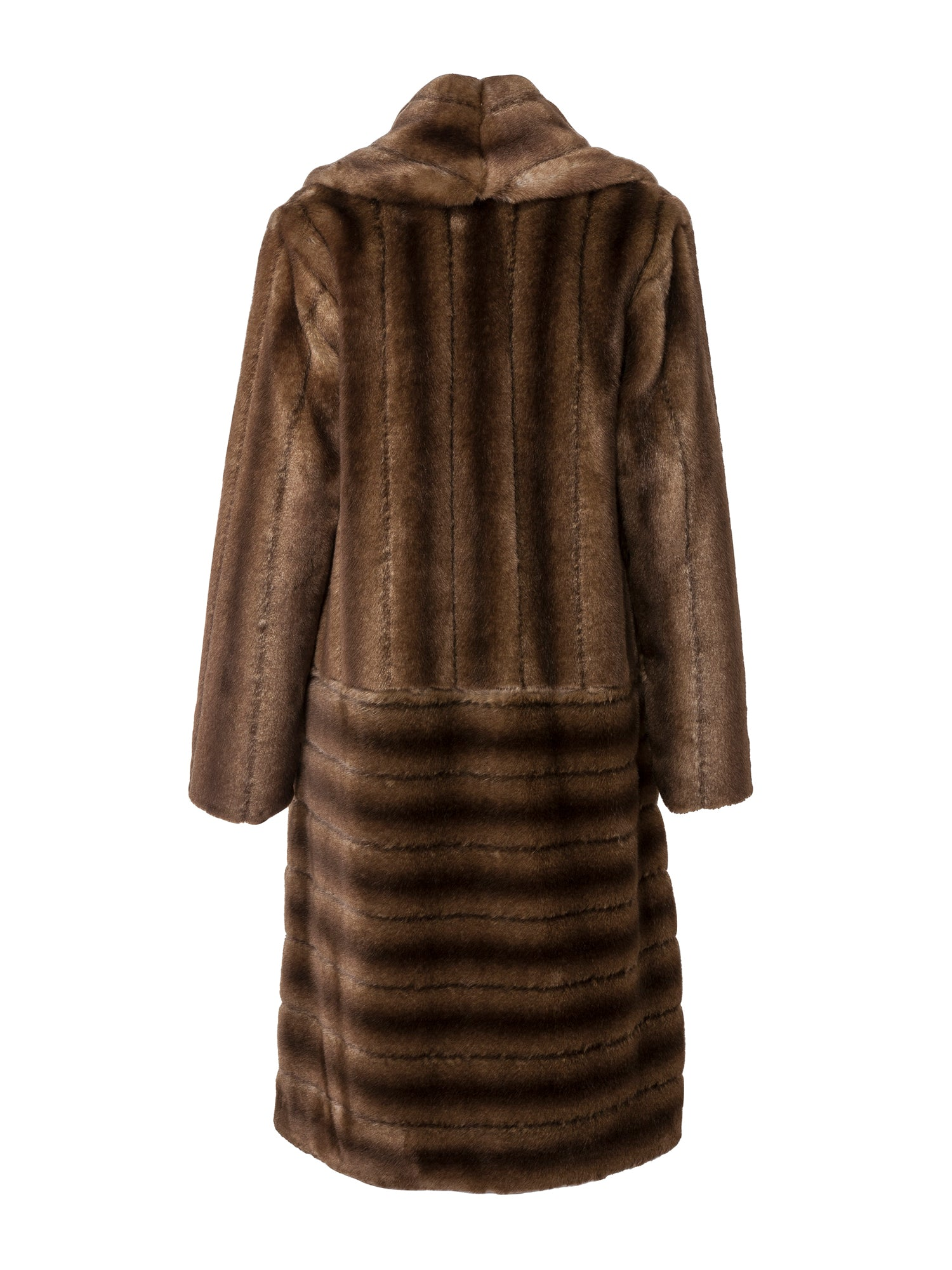 A Packshot Of Marei1998's Legendary Deutzia Long Faux Fur Coat In Classic Brown Color. Made From Plush Faux Fur, Which Feels So Warm And Comfortable. The Full Length Silhouette Creates A Contemporary Vintage Look. Cut In A Slight A-Line Shape And Fully Lined, It Is Ideal For Smooth Layering. Timeless Winter Investment. Back View.