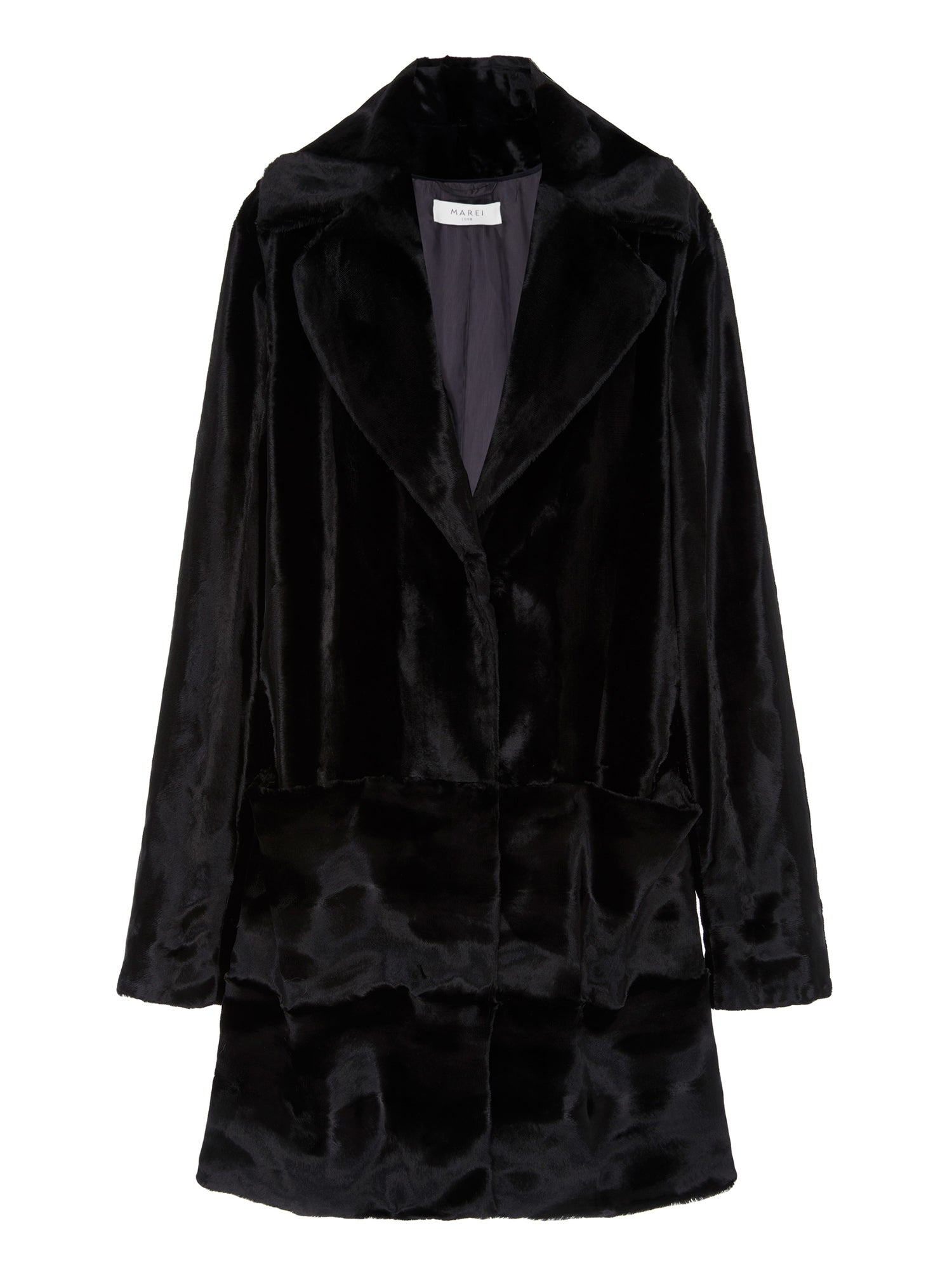 A Packshot Of Marei1998 Begonia Coat In Black Color. This Unique Design Is Crafted From Italian Velvet Texture Fabric In Lustrous Black Color. Cut In A Slight Oversized Shape, Enhanced By Deep Neckline And Dropped Shoulders, This Coat Is An Ideal Winter Piece. The Smart Silhouette And Minimalist Design Result In A Classic Signature Style. Front View.
