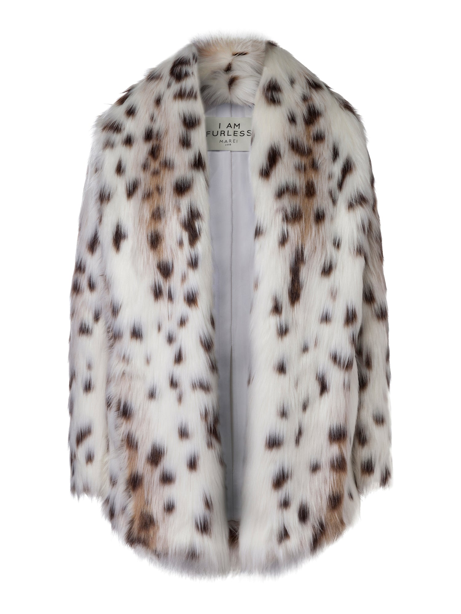 A Packshot Of Marei1998's Tiger Lily Faux Fur Coat In Linca Color. Featuring Spotted Design, Oversized Silhouette And Shawl Collar. Wardrobe Staple. Front View. Resort 2020 Collection - Furless Friendship.