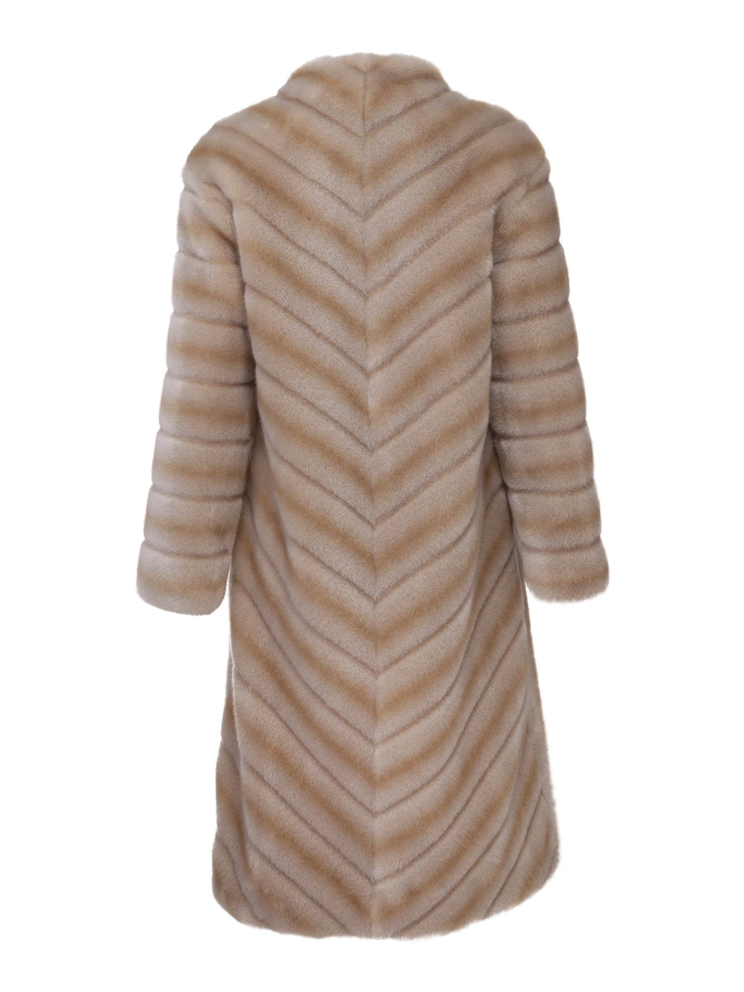 Marei1998's Timeless Echinacea Long Faux Fur Coat In The Classiest Natural/Beige Color. Featuring Calf Length, Oversized Silhouette And Wide Shawl Neckline. Investment Piece / Winter Essential. As Worn By The Model. Back View. Resort 2020 Collection - Furless Friendship.