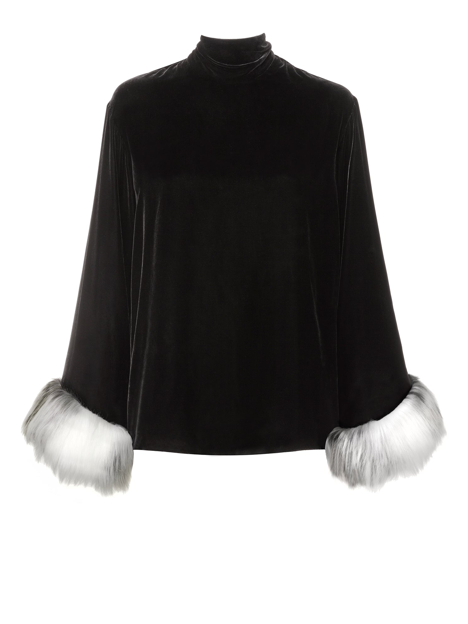 A Packshot Of Marei1998 Heliconia Velvet Top In Black Color. Made From Lustrous Black Velvet, It Is Designed For A Loose fit. Bell Sleeves, Trimmed With Faux Fur, Create A Contemporary Vintage Look. Front View.