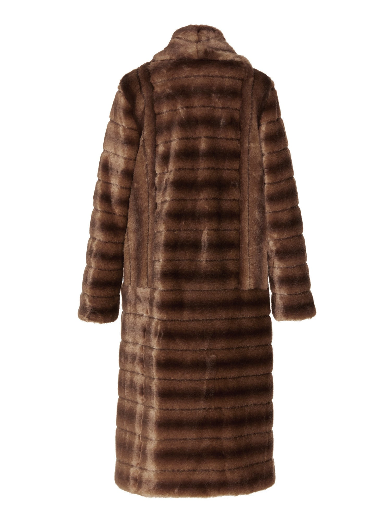 A Packshot Of Marei1998's Timeless Echinacea Long Faux Fur Coat In Classic Brown Color. Featuring Oversized Silhouette And Wide Shawl Neckline. Investment Piece / Winter Essential. Back View. Resort 2020 Collection - Furless Friendship.