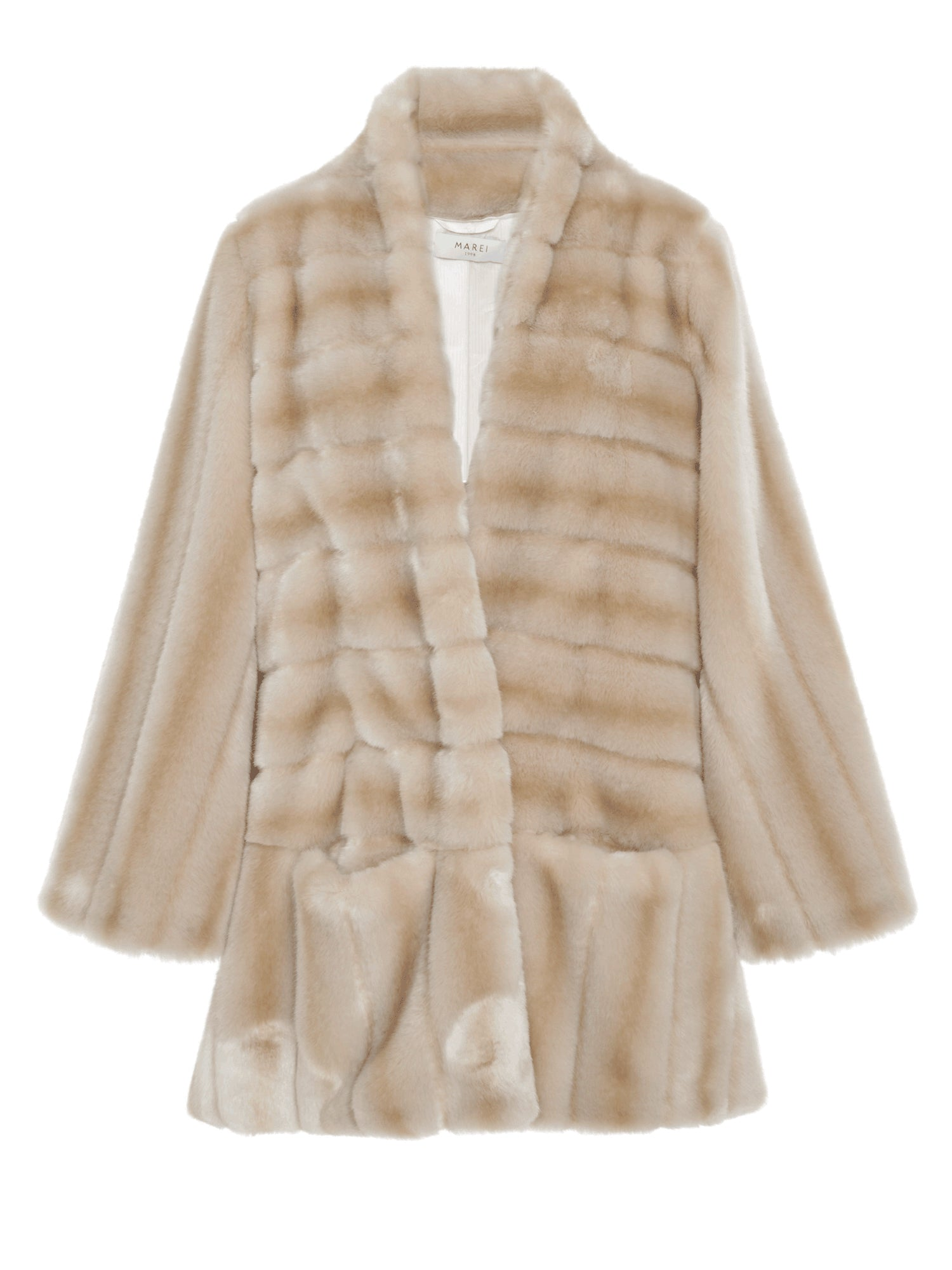 A Packshot Of Marei1998's Ivy Faux Fur Short Coat In The Classiest Beige Hue. Made From Plush Faux Fur, It Is Cut In A Slight A-Lined Shape And Fully Lined.