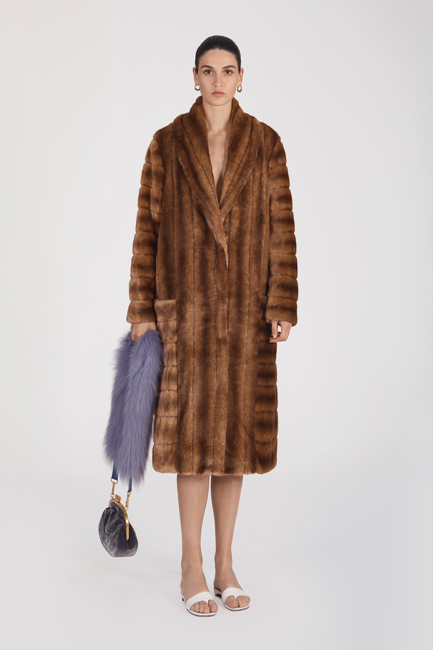 Marei1998's Timeless Echinacea Long Faux Fur Coat In Classic Brown Color. Featuring Oversized Silhouette And Wide Shawl Neckline. Investment Piece / Winter Essential. As Worn By The Model. Front View. Resort 2020 Collection - Furless Friendship.