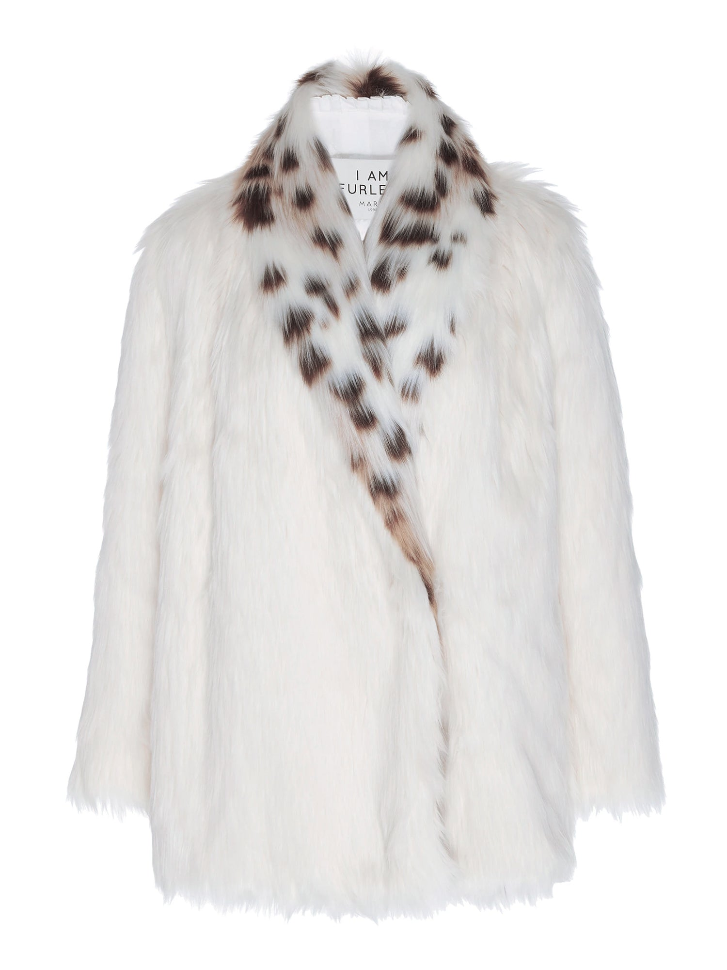 A Packshot Of Marei1998's Tiger Lily Faux Fur Coat In White Color. Featuring Spotted Design, Oversized Silhouette And Shawl Collar. Wardrobe Staple. Front View. Resort 2020 Collection - Furless Friendship.