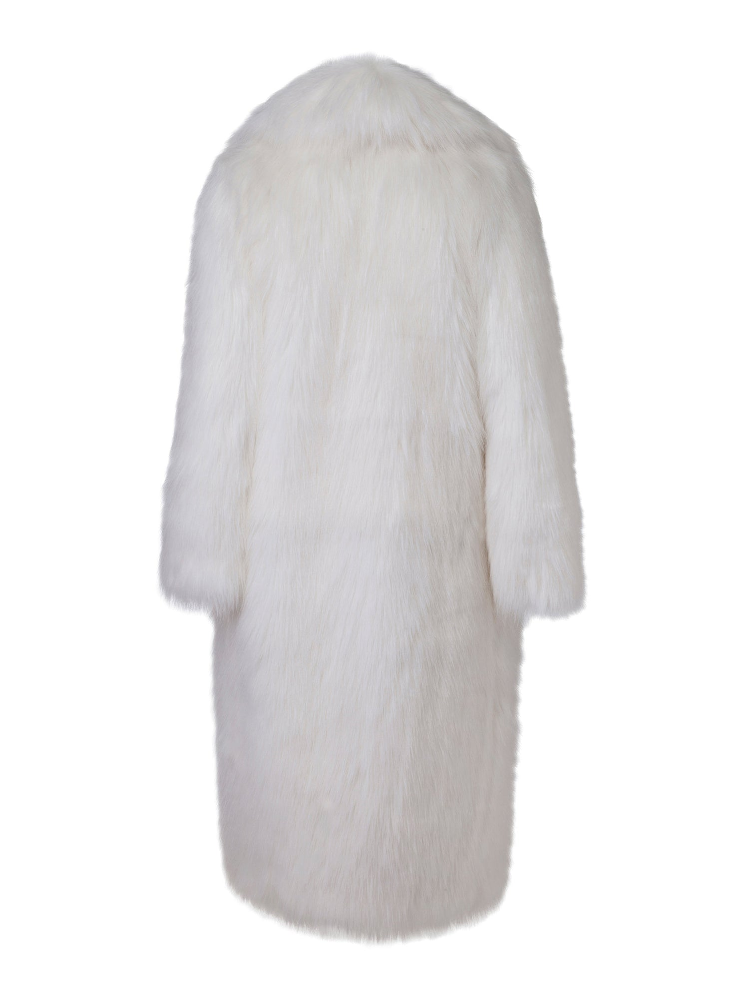 A Packshot Of Marei1998's Datura Long Faux Fur Coat In Ivory Color. Featuring A Slight A-Lined Silhouette, It Is Made From The Fluffiest Long Pile Faux Fur. Back View.