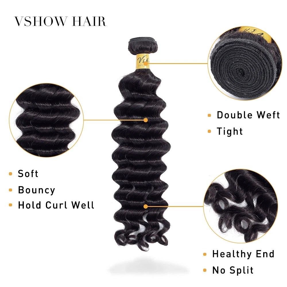 VSHOW HAIR Premium 9A Mongolian Virgin Human Hair Loose Deep Wave 3 or 4 Bundles with Closure Popular Sizes