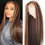 VSHOW HAIR Straight Highlight Color Wigs Ombre Human Hair Full Lace Wigs