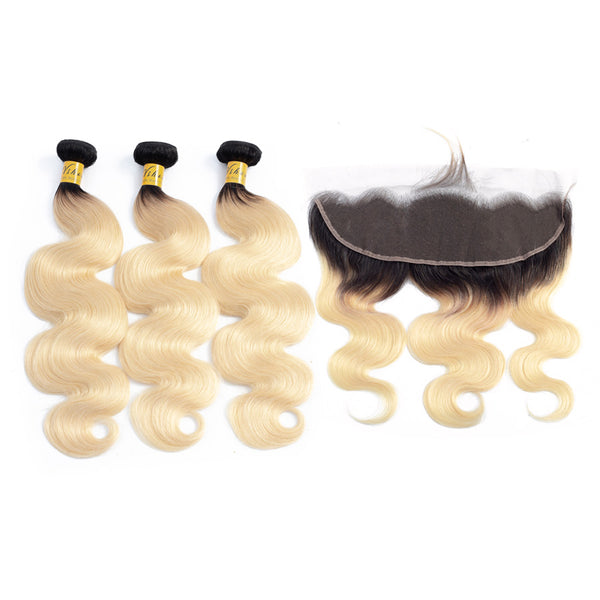 VSHOW HAIR Human Virgin Hair 1b#613 Blonde Body Wave 3 Bundles with Frontal