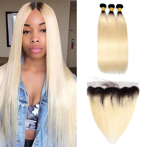 VSHOW HAIR Human Virgin Hair 1b#613 Blonde Straight 3 Bundles with Frontal