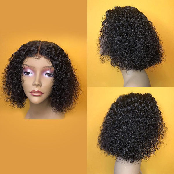 VSHOW HAIR Premium 9A Peruvian Bob Kinky Curly Human Hair Lace Front Wigs Natural Black