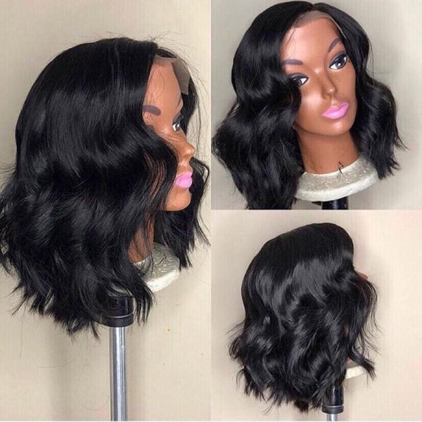 VSHOW HAIR Premium 9A Peruvian Bob Body Wave Human Hair Lace Front Wigs Natural Black