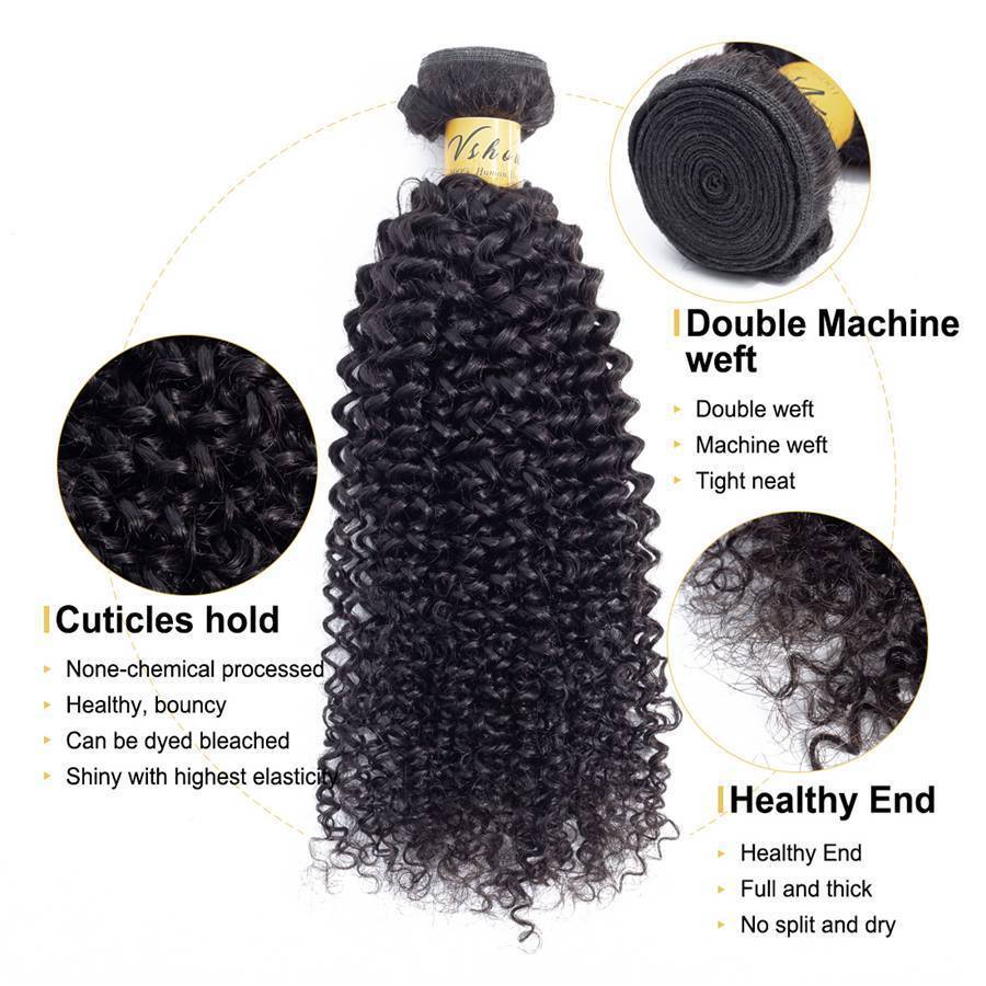 VSHOW HAIR Premium 9A Brazilian Human Virgin Hair Kinky Curly 4 Bundles with Pre Plucked Closure Deal Natural Black