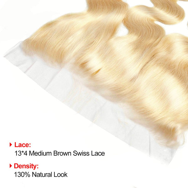 VSHOW HAIR Human Virgin Hair #613 Blonde Body Wave 3 Bundles with Frontal