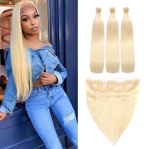 VSHOW HAIR Human Virgin Hair #613 Blonde Straight 3 Bundles with Frontal