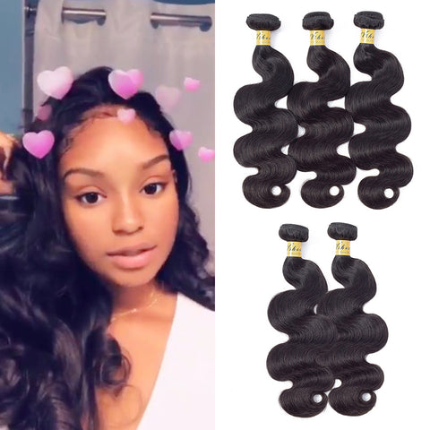 VSHOW HAIR Premium 9A Brazilian Human Virgin Hair Body Wave Natural Black 5 Bundles Deal