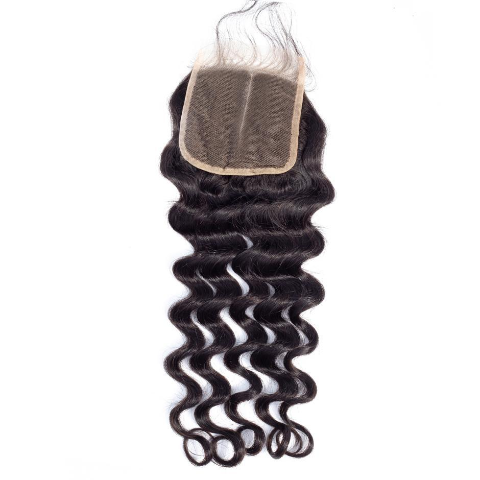 VSHOW HAIR 100% Virgin Human Hair Loose Deep Wave 4x4 6x6 Lace Closure Natural Black