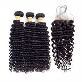 VSHOW HAIR Premium 9A Brazilian Human Virgin Hair Deep Wave 3 Bundles with Pre Plucked Closure Deal Natural Black