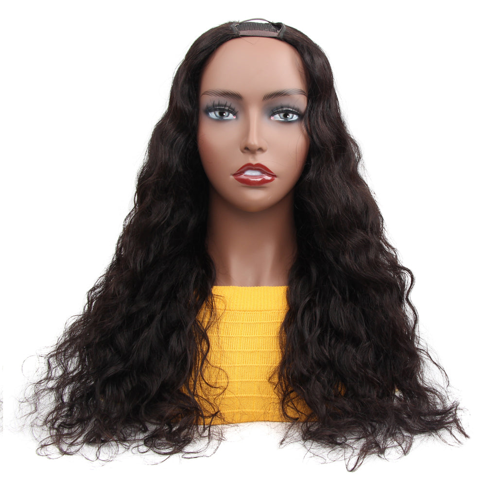 VSHOW HAIR Premium Loose Deep Wave Human Hair U Part Wigs Natural Black