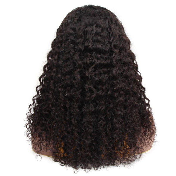 VSHOW HAIR Premium 9A Peruvian Water Wave Human Hair U Part Wigs Natural Black