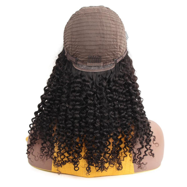 VSHOW HAIR Premium 9A Peruvian Kinky Curly Human Hair U Part Wigs Natural Black