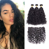 VSHOW HAIR Premium 9A Indian Human Virgin Hair Natural Wave 3 Bundles with Pre Plucked 13x4 Frontal Natural Black