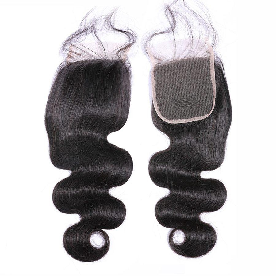 VSHOW HAIR Premium 9A Brazilian Human Virgin Hair Body Wave 3 Bundles with Pre Plucked Closure Deal Natural Black