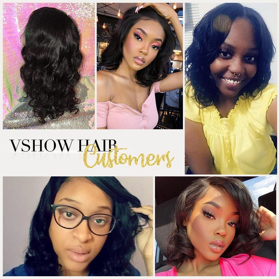 VSHOW HAIR Premium 9A Bob Body Wave Human Hair Lace Front Wigs Natural Black