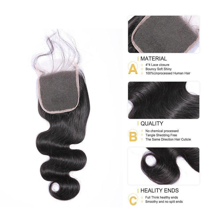 VSHOW HAIR Premium 9A Brazilian Virgin Human Hair Body Wave 3 or 4 Bundles with Closure Popular Sizes
