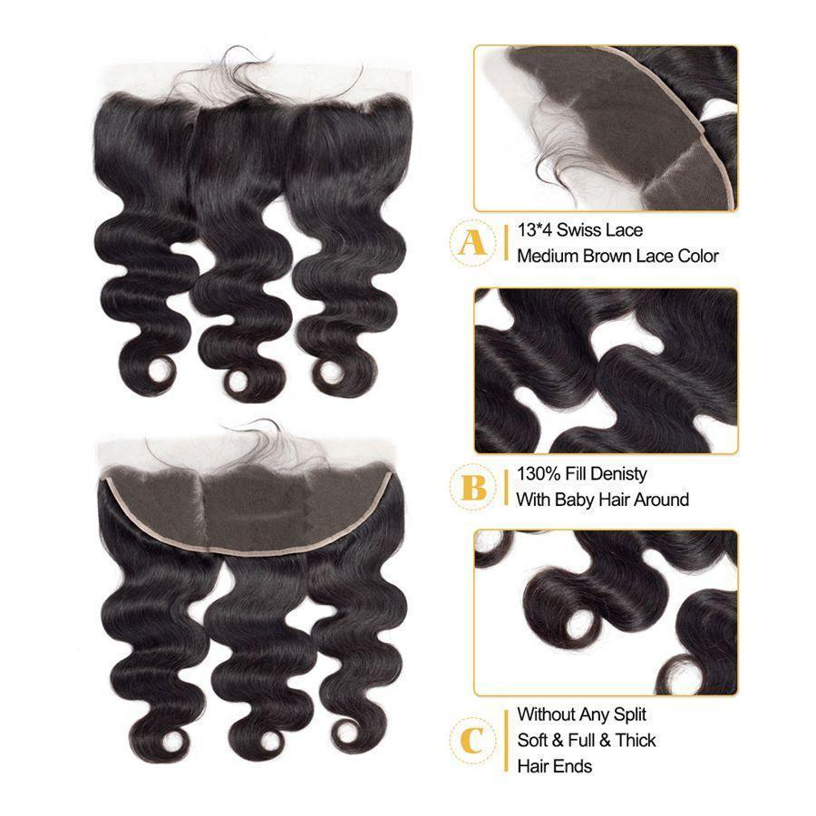 VSHOW HAIR Premium 9A Mongolian Human Virgin Hair Body Wave 3 Bundles with Pre Plucked 13x4 Frontal Natural Black