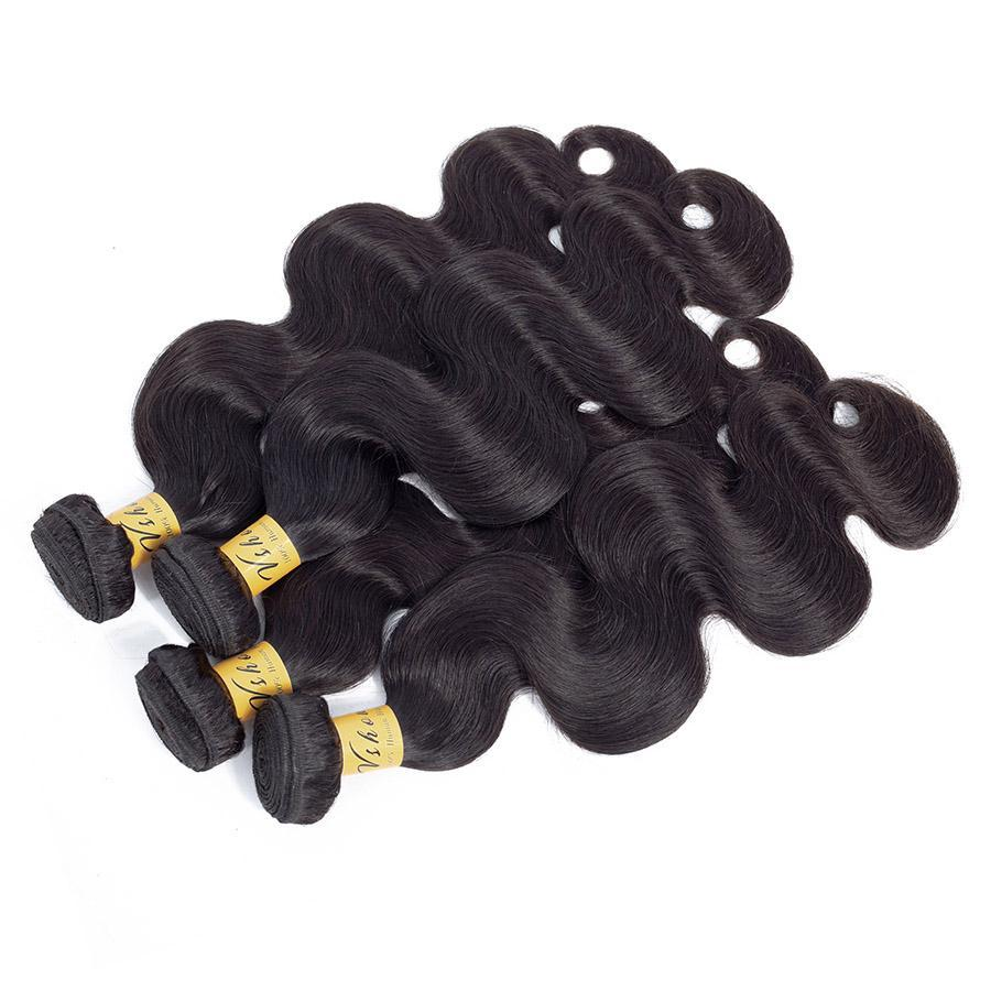 VSHOW HAIR Premium 9A Malaysian Virgin Human Hair Body Wave 3 or 4 Bundles with Closure Popular Sizes