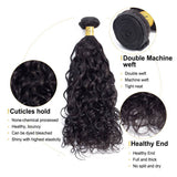 VSHOW HAIR Premium 9A Brazilian Human Virgin Hair Natural Wave 4 Bundles with Pre Plucked Closure Deal Natural Black
