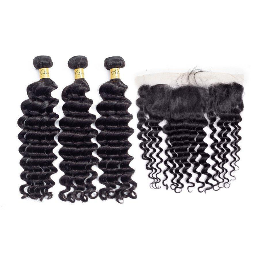 VSHOW HAIR Premium 9A Peruvian Human Virgin Hair Loose Deep Wave 3 Bundles with Pre Plucked 13x4 Frontal Natural Black
