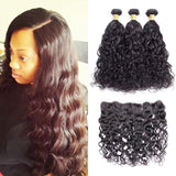 VSHOW HAIR Premium 9A Brazilian Human Virgin Hair Natural Wave 3 Bundles with Pre Plucked 13x4 Frontal Natural Black
