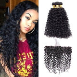 VSHOW HAIR Premium 9A Mongolian Human Virgin Hair Water Wave 3 Bundles with Pre Plucked 13x4 Frontal Natural Black