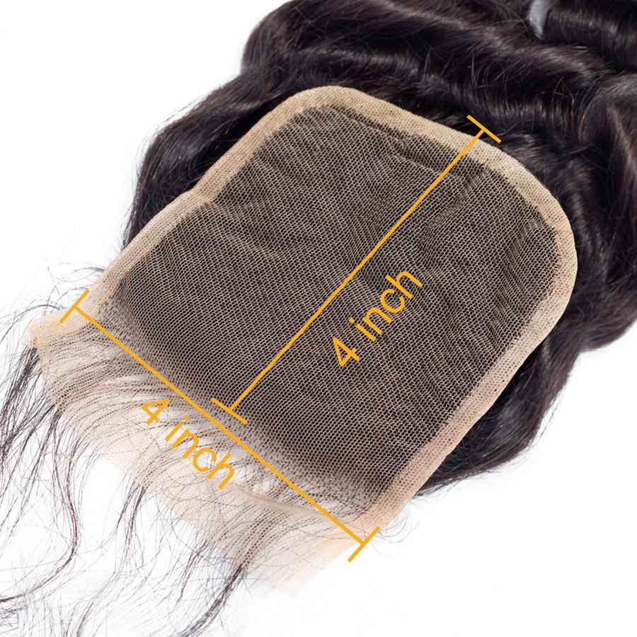 VSHOW HAIR Premium 9A Mongolian Human Virgin Hair Loose Deep Wave 4 Bundles with Pre Plucked Closure Deal Natural Black