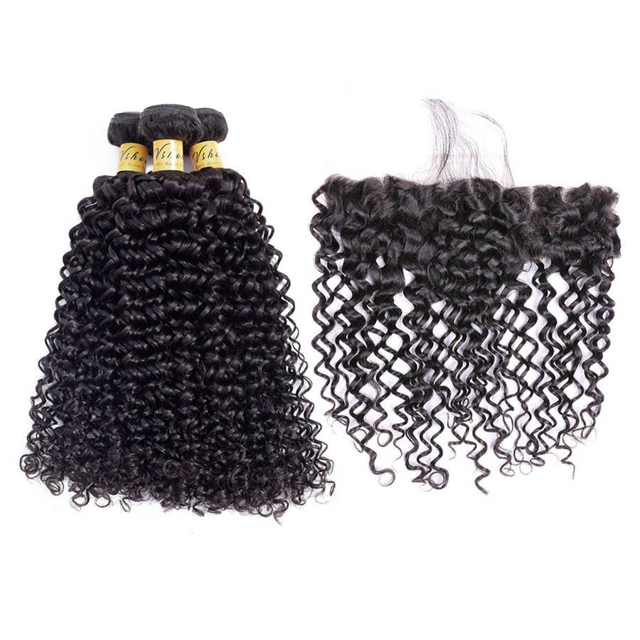 VSHOW HAIR Premium 9A Peruvian Human Virgin Hair Water Wave 3 Bundles with Pre Plucked 13x4 Frontal Natural Black