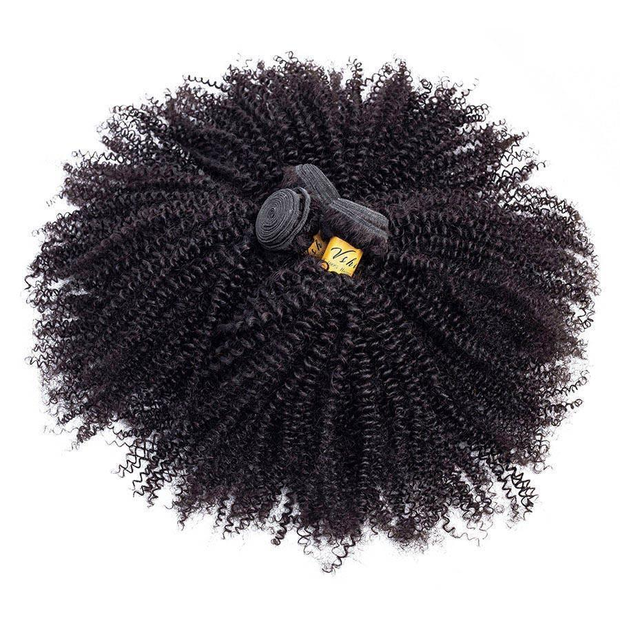 VSHOW HAIR Premium 9A Malaysian Virgin Human Hair Afro Curly 3 or 4 Bundles with Closure Popular Sizes