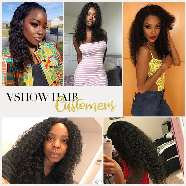 VSHOW HAIR Premium 9A Transparent Lace Front Wigs Peruvian Deep Wave Human Hair Natural Black