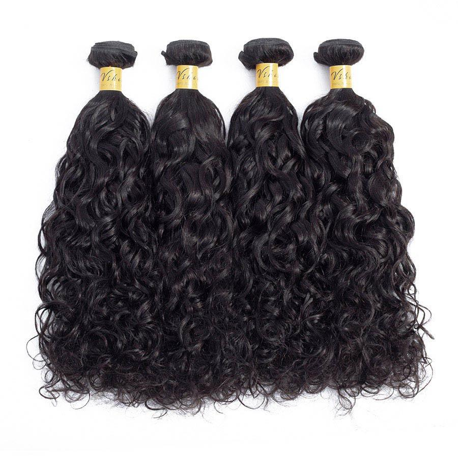 VSHOW HAIR Premium 9A Indian Virgin Human Hair Natural Wave 3 or 4 Bundles with Closure Popular Sizes