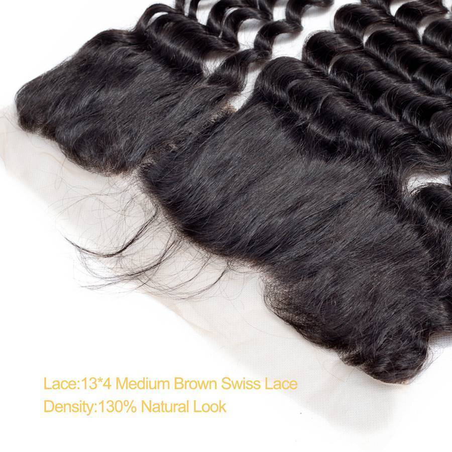 VSHOW HAIR Premium 9A Malaysian Human Virgin Hair Loose Deep Wave 3 Bundles with Pre Plucked 13x4 Frontal Natural Black