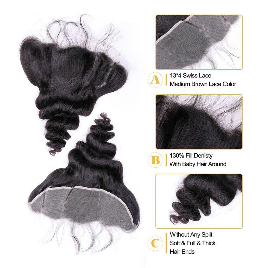 VSHOW HAIR Premium 9A Peruvian Human Virgin Hair Loose Wave 3 Bundles with Pre Plucked 13x4 Frontal Natural Black