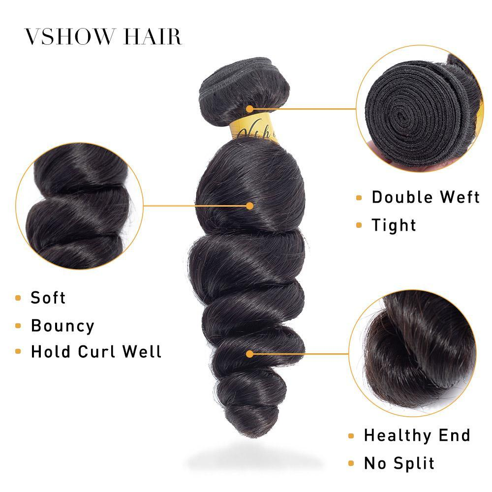 VSHOW HAIR Premium 9A Brazilian Virgin Human Hair Loose Wave 3 or 4 Bundles with Closure Popular Sizes