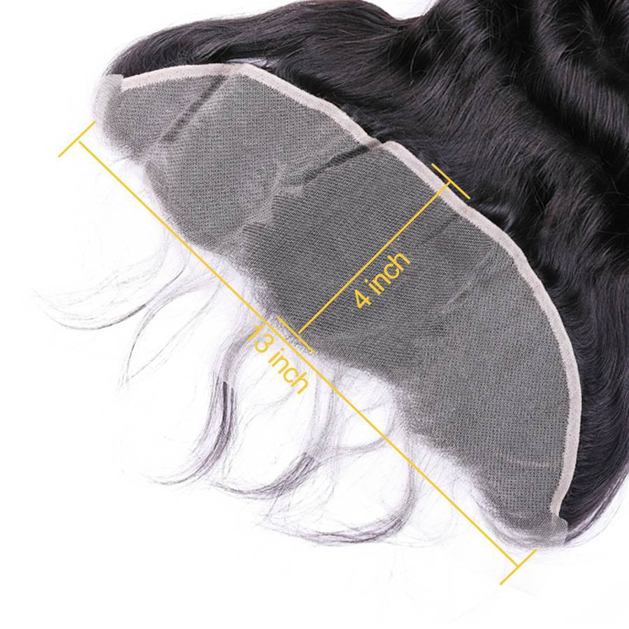 VSHOW HAIR Premium 9A Indian Human Virgin Hair Loose Wave 3 Bundles with Pre Plucked 13x4 Frontal Natural Black